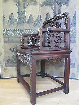 Beautiful 18-19th Century Qing Dyn. Chinese Rosewood Mother of Pearl Inlay Chair 6