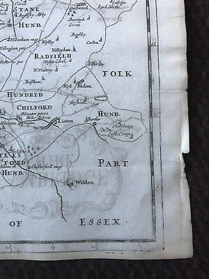 1695 COUNTY of CAMBRIDGESHIRE Original English Antique Map  Robert Morden RARE 3