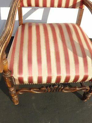 Antique Red & White Striped Silk Accent Arm Chair Floral Design Carved Wood 6
