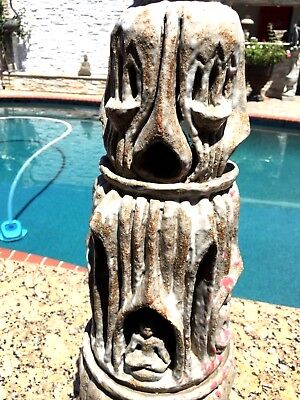 Antique 18-19 C Asian Chinese Thailand Pagoda Pottery Ceramic Statue W/4 Buddhas 4