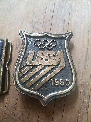 Lot of (2) VINTAGE 1980s USA Olympics BRASS Belt Buckles Commemorative 5