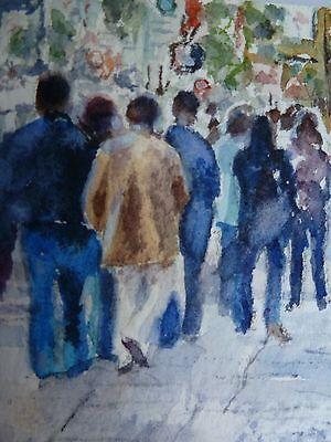 ACEO Original collectible art card Watercolor Painting San Francisco pedestrians 7