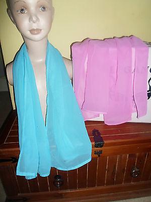 2 NEW Mixed Fibre Ladies Scarf 1 x Cerise Pink 1 x Sky Blue Gift Idea #46 3