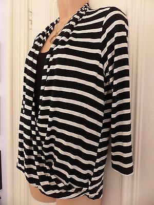 Wallis size 12 black and white striped jersey faux wrap top black vest 5