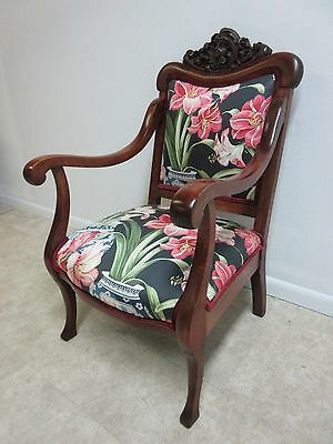 Antique Victorian Figural Carved Fireside Lounge Arm Chair 4