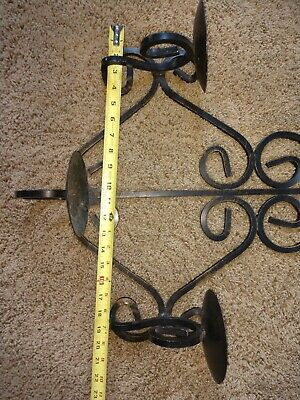 Vintage Gothic Medieval Wrought Iron Triple  Arm Candelabra Wall Sconce Fixture 12