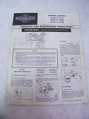 Vintage Briggs & Stratton Operating and Maintenance Instructions 2