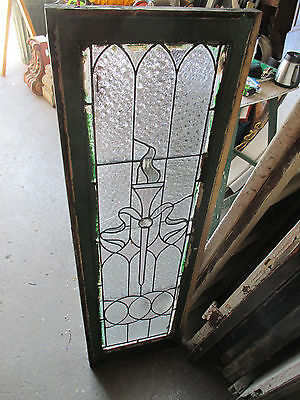 ~ Antique American Stained Glass Window Torch 16 X 51 Architectural Salvage ~ 11