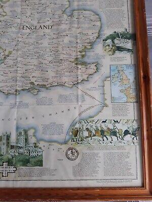 VINTAGE MEDIEVAL ENGLAND MAP 31 x 24 ins PRINTED IN WASHINGTON 1979. 5