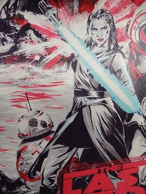 Star Wars The Last Jedi FABRIC Movie Poster Rey w/ Lightsaber Comic Art Banner 4