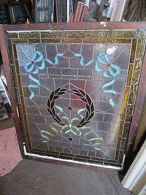 ANTIQUE AMERICAN STAINED GLASS LANDING WINDOW 35.75x42.25 ARCHITECTURAL SALVAGE 12