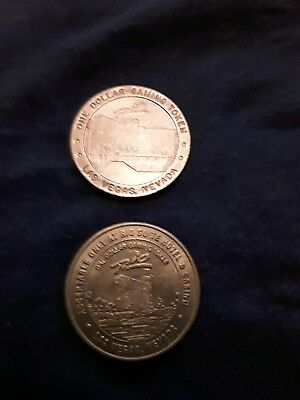 TWO $1 Slot Gaming Tokens 1989 and 1993 Rio Suite Hotel Casino Las Vegas Nevada 2