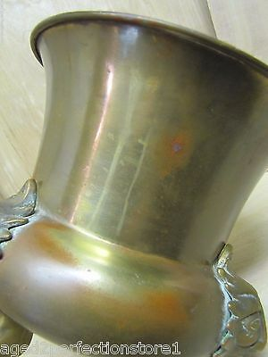 Old Figural Brass Planter Pot Urn detailed heads feet wonderful aged patina 9