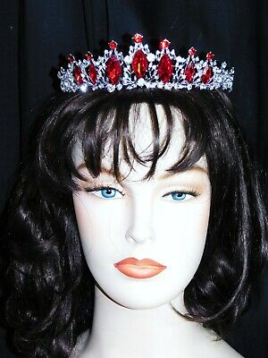 Silver  with Red Ruby Glass Crystal Beauty Queen Tiara Princess Crown 1437
