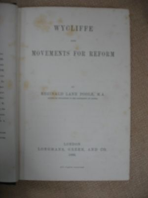 Wycliffe and Movements for Reform with Lindsay Fleming Bookplate - 1889 3