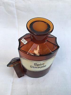alte Apothekerflasche Braunglas Gefäß Apotheke 21cm Spir. Sinapis #30