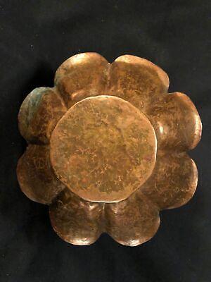 Early 20th C Arts & Crafts Hand Hammered Copper Bowl, 8 Lobes, Petal Lip No Mark 10