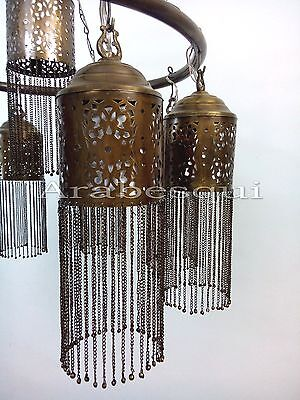 BR372 Antique Style Handmade Brass Ring 9 Down Light Large Moroccan Chandelier 4