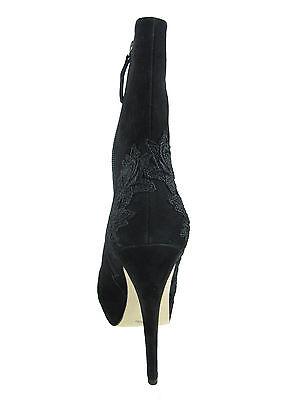 La Fenice Venezia Womens Greenwich Black Suede Platform Floral Booties Heels