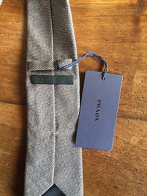 f2c0bd1cb9 ... 5 di 10 Cravatta uomo PRADA MILANO grigia beige cotone nuova cartellino  6