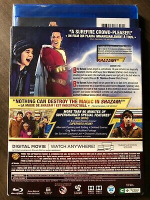 NEW DC Shazam 2019 Blu-Ray & DVD & Digital w Hologram Slipcover Canada Bilingual 4