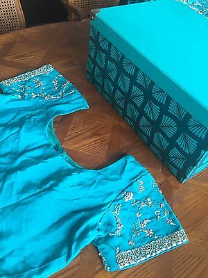 Indian Bridal Engagement Wedding Sari Blue Green Turquoise 3 Piece Dupatta Heavy 7