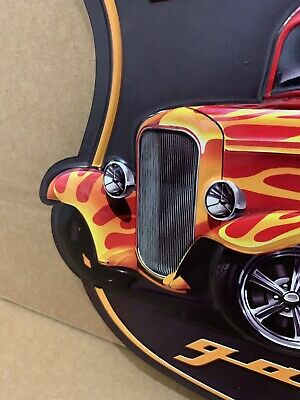 Hot Rod Garage Metal Decor Coupe Rat Rod Oil Gas Bar Ford Chevy Street Rim Tire 5