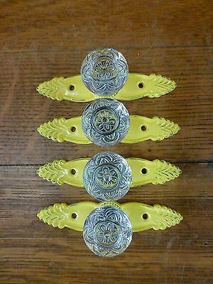 4 YELLOW ANTIQUE-STYLE FRENCH PULL CLEAR KNOB DRAWER CABINET HANDLE vintage chic 2