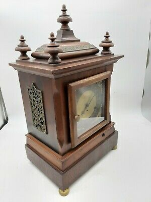 Antique 5 Coil Gong Westminster Chime Mantel Clock 1896 New Haven 2