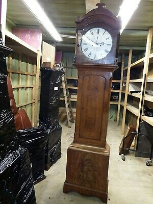 Thomas WILLIAMS OF DOWLAIS 8 DAY SILVERED DIAL WITH FIGURED MAHOGANY CASE 6