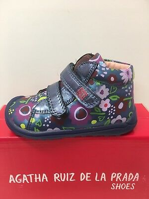 Agatha Ruiz De La Prada Infant Girls Ankle Boots Blue Multi Floral (171911) 3