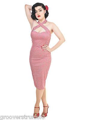 COLLECTIF UK PENNY Picnic Gingham Pencil Dress Rockabilly ...