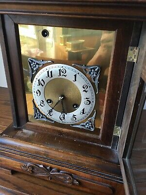 Antique Junghans Carved Oak Mantel Clock Westminster Chime Musical With Bracket 12