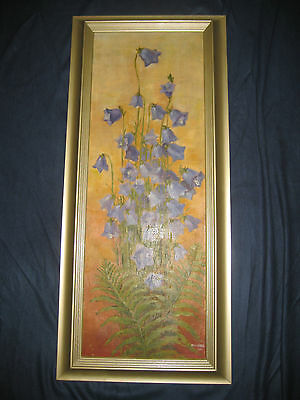 Large Rare Art Nouveau Original Painting - M. Weiner - Bluebells Jugendstil 1902