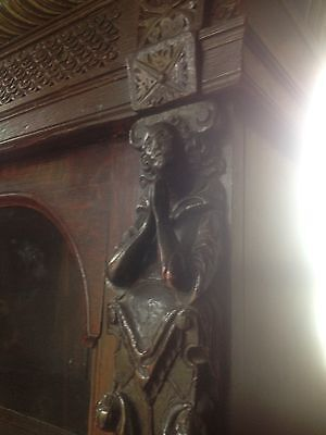 17th Century Carved Oak Library Bookcase Flemish Lion Head Pussy Oak Angels Pray 6