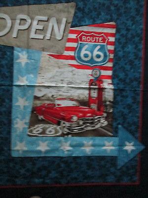Route 66 Retro Car USA Large Fabric Cotton Panel 5