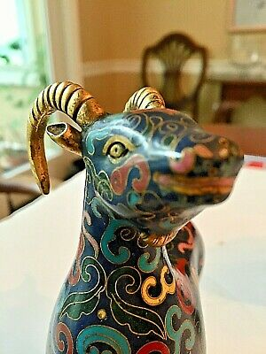 Outstanding Pair of Chinese Cloisonne Goats 9