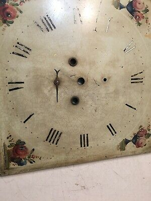 Antique Grandfather Clock Dial With Hand Painted Flowers In Vases & Baskets 12