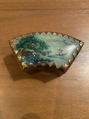 Chinese Cloisonne Pill Box With Hand Painted Stone Lid-2 1/2 Inches At Widest 2