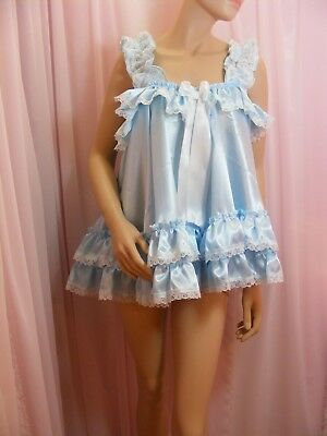 ADULT baby sissy blue satin babydoll negligee nightie dress fancydress unisex 9