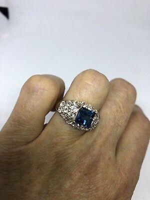 Deco Genuine London Blue Topaz Vintage 925 Sterling Silver Size 7 Ring 3
