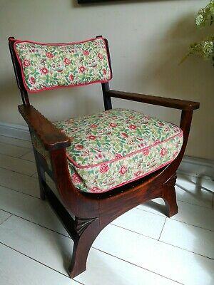 Rare Antique Arts & Crafts Oak Chair Liberty Style X frame bentwood Unique. 12