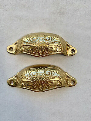 4 engraved cast shell shape pulls handles solid brass vintage POLISHED drawer 6