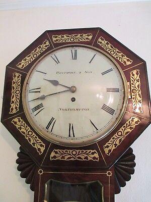Whitmore Northampton Regency Superb Brass Inlaid Convex Dial Wall Clock 7