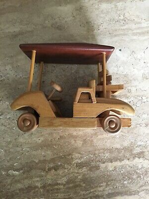 Carved Wood Golf Cart Complete with Golf Bags and Clubs Multi Colored Wood Doug 6