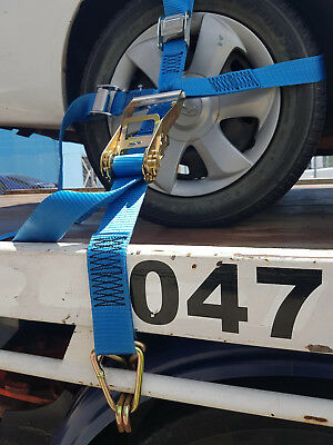 (4 Pack) Car Carrying Ratchet Tiedown, Trailer Tie Down, Car Wheel Harness 2