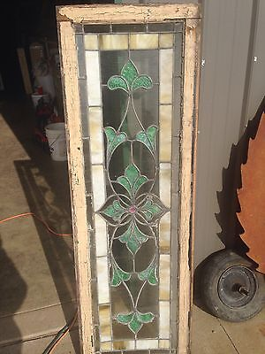 Sg 51 Is A Long Antique Transom Stainglass Window With Flower Design 3
