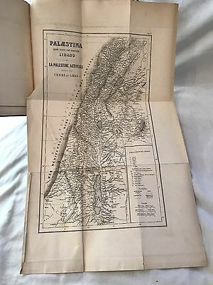 Antique 1869 Two Volume Set of French Christian Religious Books w/ Fold Out Maps