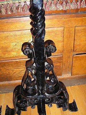 Monumental Pair of Antique Arts And Crafts Wrought Iron Andirons 8