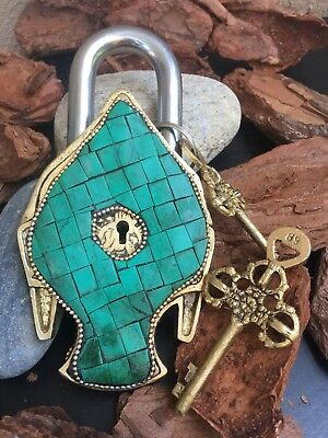 Buddha Antique lock Vintage Brass Padlock working lock skeleton key love lock 2